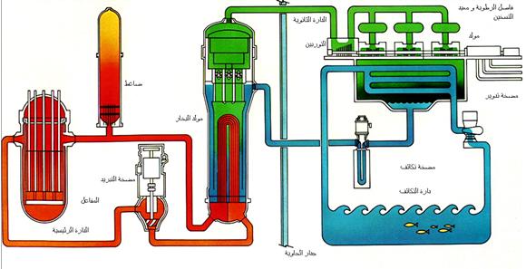 محطة نووية مزودة بمفاعل ماء مضغوط (شكل تمثيلي مبسط)